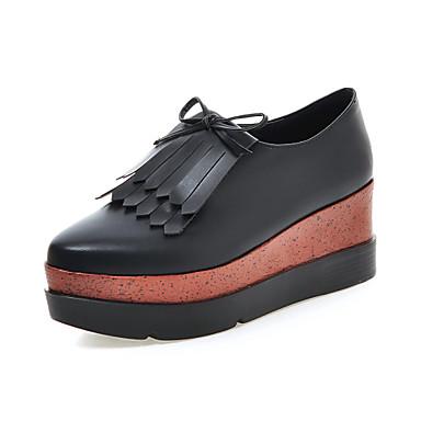 Feminino Sapatos Courino Primavera Outono Salto Plataforma Cadarço Para Casual Social Preto Cinzento