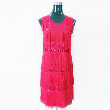 Latin Dance Dresses Women's Performance Polyester Sequined Sequin Tassel Dress