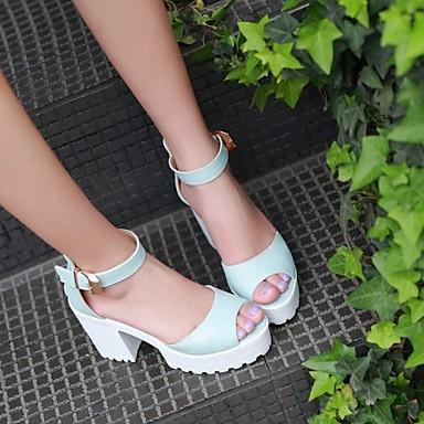 Eté Femme Bleu Blanc 04801636 Plateau Boucle Bottier Similicuir Rose Chaussures Talon FnwxqSn1E