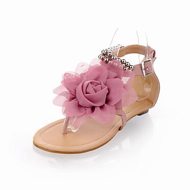 Mulheres Sapatos Courino Primavera Verão Conforto Sem Salto Laço Pérolas para Casual Ao ar livre Social Bege Azul Rosa claro