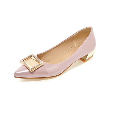 Feminino Sapatos Courino Primavera Outono Salto Baixo Para Casual Prata Cinzento Rosa claro