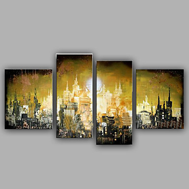 Kézzel festett FantasyModern Négy elem Vászon Hang festett olajfestmény For lakberendezési
