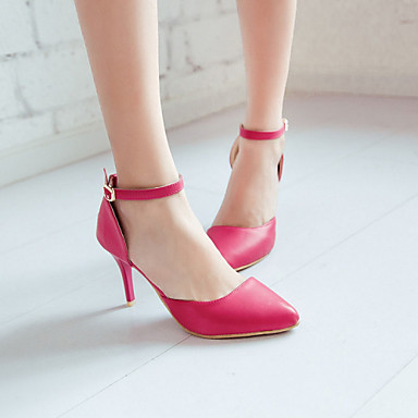 Damen Schuhe PU Sommer Komfort High Heels Stöckelabsatz Spitze Zehe Für Normal Schwarz Rot Grün