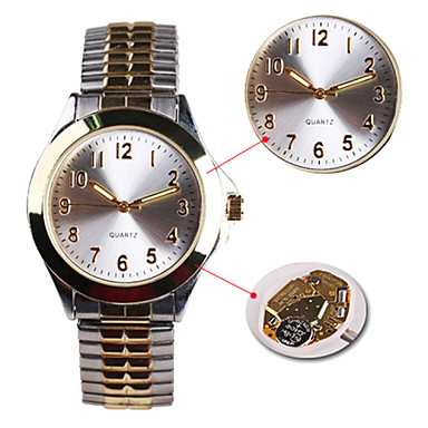 Masculino Mulheres Unissex Relógio de Moda Quartzo Impermeável Aço Inoxidável Banda Prata Dourado/Prateado