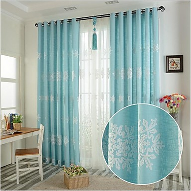 Rod Pocket Grommet Top Tab Top Double Pleat Pencil Pleat Two Panels Curtain European, Embroidery Bedroom Linen / Cotton Blend Material