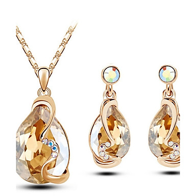 Women's Crystal Jewelry Set Earrings Necklace - For Wedding Party Birthday Engagement Gift Daily Casual