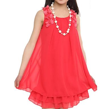 baratos Vestidos para Meninas-Infantil Para Meninas Floral Sólido Sem Manga Vestido Rosa claro