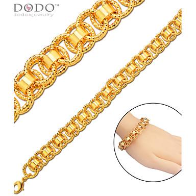 Homens Mulheres Feminino Pulseiras em Correntes e Ligações Original Moda Chapeado Dourado Jóias Jóias Para Casamento Festa Diário Casual
