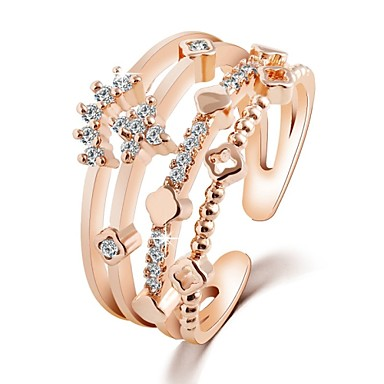 Women's Band Ring / Rings Set - Zircon 6 / 7 / 8 Silver / Golden For Wedding / Party / Daily