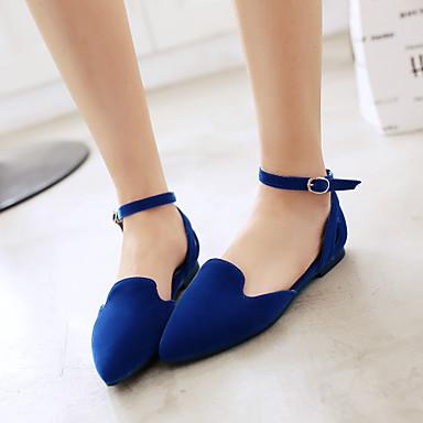 Feminino Sapatos Courino Primavera Verão Outono Sem Salto para Casual Preto Vermelho Azul