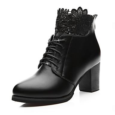 Feminino Sapatos Courino Outono Inverno Saltos Salto Grosso Ziper Para Social Festas & Noite Preto Vinho