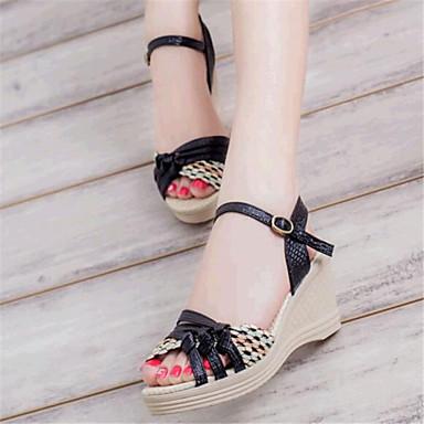 Sandaalit-Kiilakorko-Naisten kengät-Tekonahka-Musta / Sininen / Violetti-Rento-Kiilat