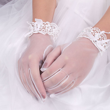 Elastic Satin / Cotton / Silk Wrist Length Glove Charm / Stylish / Bridal Gloves With Embroidery / Solid