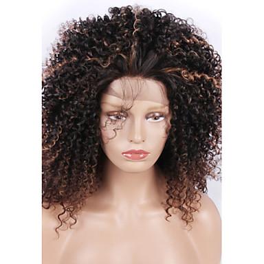 Perucas Lace Front Sintéticas Kinky Curly Cabelo Sintético Cabelo com Luzes / Reflexos / Riscas Naturais Preta Peruca Mulheres Médio Frente de Malha