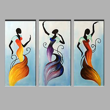 yağlı boya, modern soyut saf el 3 adet dans setinin kadını dekoratif asmak için hazır çizmek