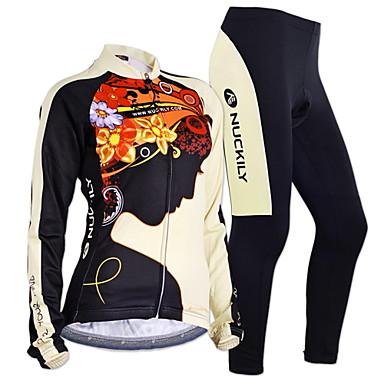 Nuckily Damen Langarm Fahrradtrikots mit Fahrradhosen - Schwarz Geometrisch Fahhrad Trikot/Radtrikot Kleidungs-Sets, Anatomisches Design,