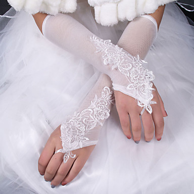 Silk Elastic Satin Elbow Length Glove Bridal Gloves With Bow