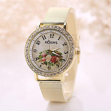 Dame Quartz Simulert Diamant Klokke Armbåndsur Selskapsklokke Imitasjon Diamant Hverdagsklokke Rustfritt stål Band Blomst Vintage Mote