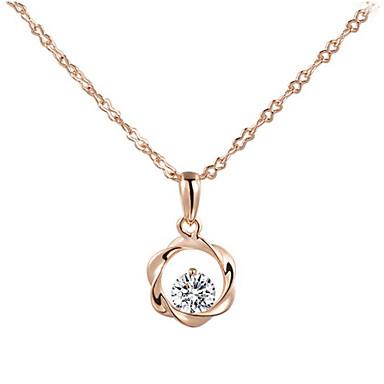 Damen Kristall Diamantimitate Anhängerketten - Silber Rotgold Modische Halsketten Für