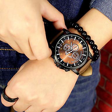 Herrn Sportuhr Armbanduhr Quartz Chronograph Cool Leder Band Analog Schwarz / Braun - 2 # 3 # 4 # Ein Jahr Batterielebensdauer / KC 377A