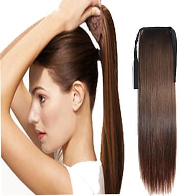 Ruskea  synteettinen Poninhäntä Straight Micro Ring Hair Extensions Poninhäntä 16inch gramma Medium (90g-120 g) Määrä
