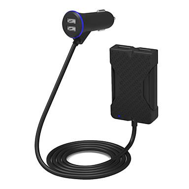 poweriq 36w inteligente 4-port carregador de carro de passageiros preto 5v / 7.2a para iPhone / iPad / samsung / Huawei etc