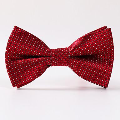 miesten juhla / illalla häät valkoinen punainen ruudullinen muodollinen jousi solmio