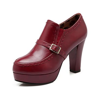 Mulheres Sapatos Courino Outono Conforto Salto Agulha Plataforma Presilha para Casual Escritório e Carreira Social Preto Bege Vermelho