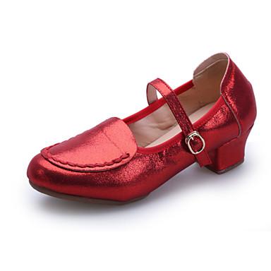 נשים מודרני עור נעלי ספורט סוליה חצויה חיצוני אבזם עקב נמוך שחור אדום כסף מוזהב 4.5 ס