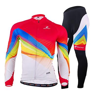 Nuckily 남성용 긴 소매 싸이클 타이즈 져지 - 화이트 자전거 의류 세트, 빠른 드라이, 자외선 방지, 통기성, 땀 흡수 기능성 소재, 빛반사 스트립, 봄, 폴리에스테르 라이크라