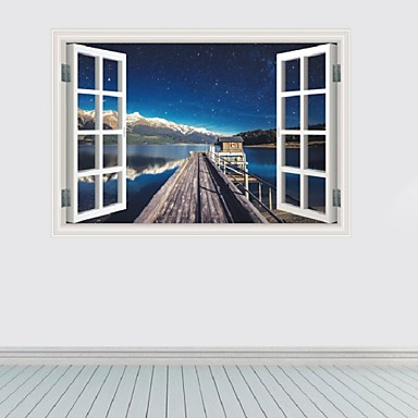 3D Window Harbor Wharf Star Wall Stickers Personality Backdrop Decorative Seaport Star Wall Paper Home Decor