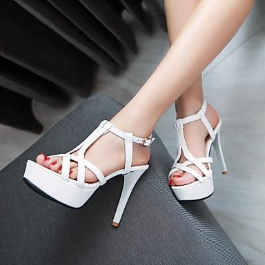 Naiset Kengät Tekonahka Kevät Kesä Syksy Stilettikorko varten Kausaliteetti Puku Valkoinen Musta Pinkki