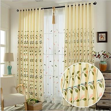 Dvije zavjese Prozor Liječenje Zemlja Bedroom Posteljina / pamuk Blend Materijal Zavjese Zavjese Početna Dekoracija For Prozor