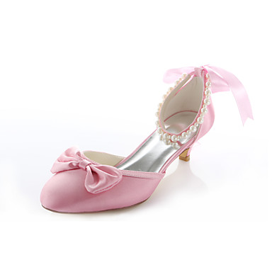 Women's Shoes Stretch Satin Spring Summer Low Heel Imitation Pearl for Wedding Dress Party & Evening Pink