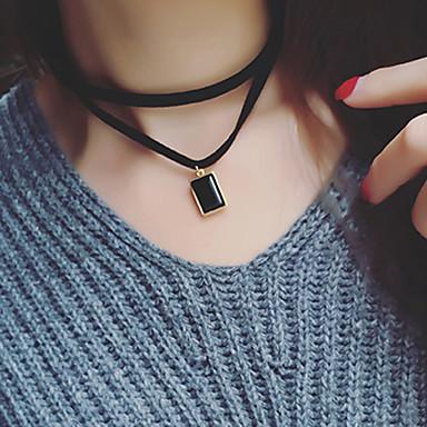 여성 초커 목걸이 계층화 된 목걸이 사파이어 보석 자연 블랙 보석 패브릭 모조 다이아몬드 보석류 일상 캐쥬얼 1PC