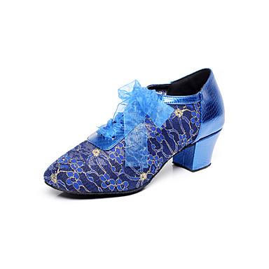 Mulheres Sapatos de Dança Moderna / Sapatos de Salsa Renda Sandália Flor de Cetim Salto Robusto Não Personalizável Sapatos de Dança Azul