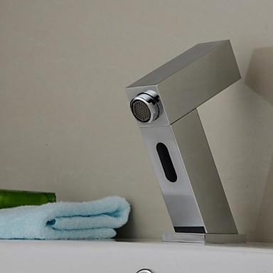Moderne Centersat Sensor Magnetventil Handsfree Et Hull Krom, Baderom Sink Tappekran