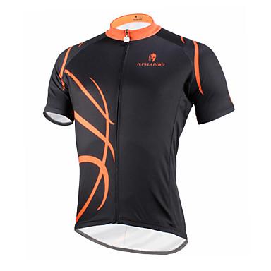 ILPALADINO 남성용 짧은 소매 싸이클 져지 - 블랙 / 오렌지 자전거 져지, 빠른 드라이, 자외선 방지, 통기성 폴리에스테르