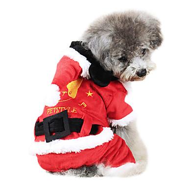 Pas Kostimi Hoodies Odjeća za psa Jednobojni Crvena Pamuk Kostim Za kućne ljubimce Muškarci Žene Cosplay Božić
