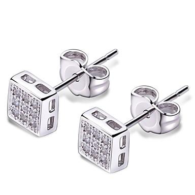 Sitne naušnice Moda Slatka Style Kubični Zirconia Platinum Plated Square Shape Geometric Shape Obala Jewelry Za 2pcs