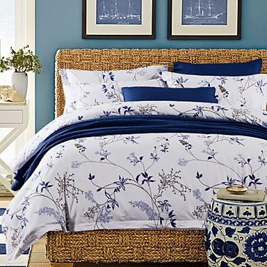 סטי שמיכה מוצק 4 חלקים כותנה הדפסה תגובתית כותנה (אם גודל כפול רק יחידה אחת של כרית מיטה או ציפה)