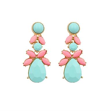 Brincos Compridos Jóias de Luxo Resina Esmalte imitação de diamante Liga Rosa e Verde Jóias Para Casamento Festa Diário Casual Esportes