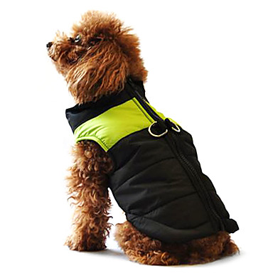 Câine Haine Γιλέκο Jachete cu Puf Îmbrăcăminte Câini Bloc Culoare Galben Rosu Negru/Roz Negru/Verde Negru și Albastru Bumbac Costume