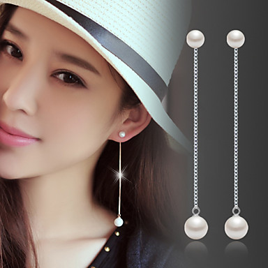 Women's Pearl Tassel / Long Drop Earrings - Pearl, Sterling Silver, Silver Fashion, Birthstones Silver For Wedding / Party / Daily