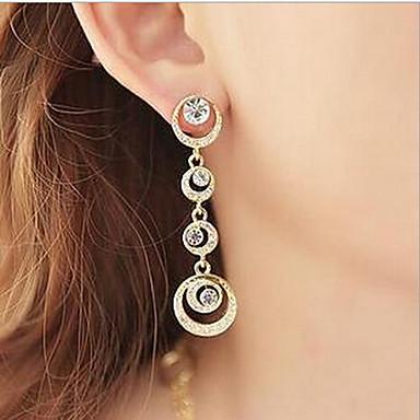 여성용 모조 큐빅 드랍 귀걸이 / 링 귀걸이 - 모조 큐빅, 라인석 스크린 컬러 제품