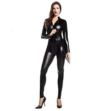 Zentai odijela Catsuit Odijelo za kožu Djevojka za motocikle Odrasli Cosplay Nošnje Spol Crn / Fuschia Jednobojni Spandex Shiny Metallic Muškarci Žene Božić Halloween / Visoka elastičnost