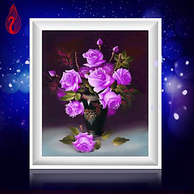 יהלומי 5D DIY רקמו אגרטל ורדים סגול קוביית קסם ציור עגול ערכות צלב תפר קישוט יהלום פסיפס בבית