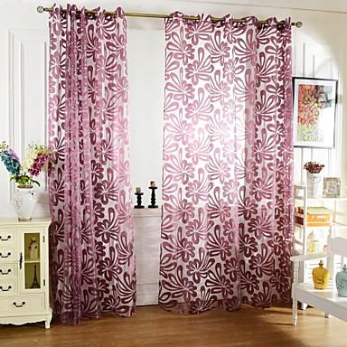 Sheer Curtains Shades Sala de Estar Poliéster Jacquard