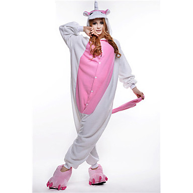 Kigurumi-Pyjamas Unicorn Pyjamas-Einteiler Kostüm Polar-Fleece Rosa Cosplay Für Erwachsene Tiernachtwäsche Karikatur Halloween Fest /