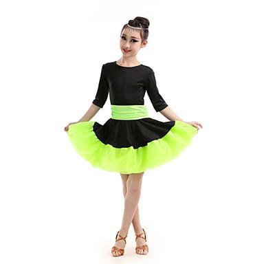 라틴 댄스 드레스 아동용 성능 폴리에스테르 주름장식 반 소매 높음 드레스